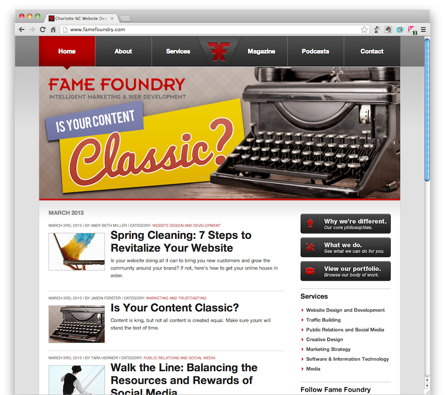 Classic Content article at Fame Foundry
